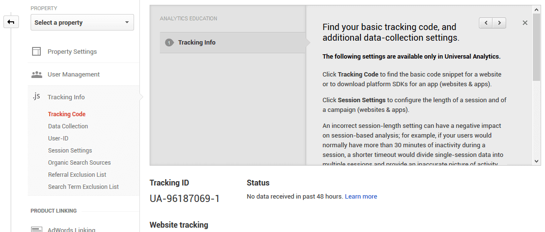 Google Analytics tracking code page