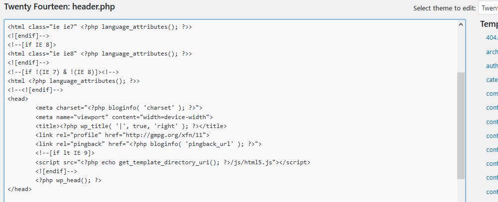 WordPress editor header code