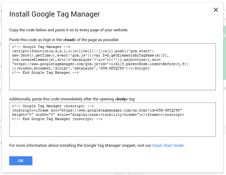 Google Tag Manager get GTM code